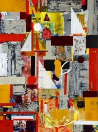 Bridget Griggs abstract art/ collage/ resin