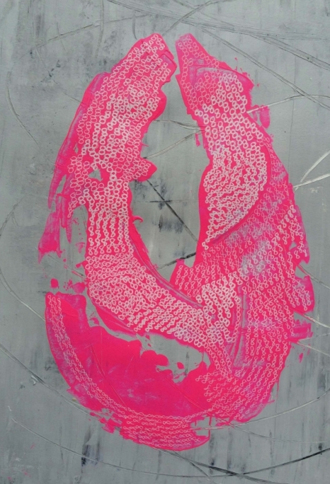 Pink Cocoon, acrylic on paper, 15x20 inches