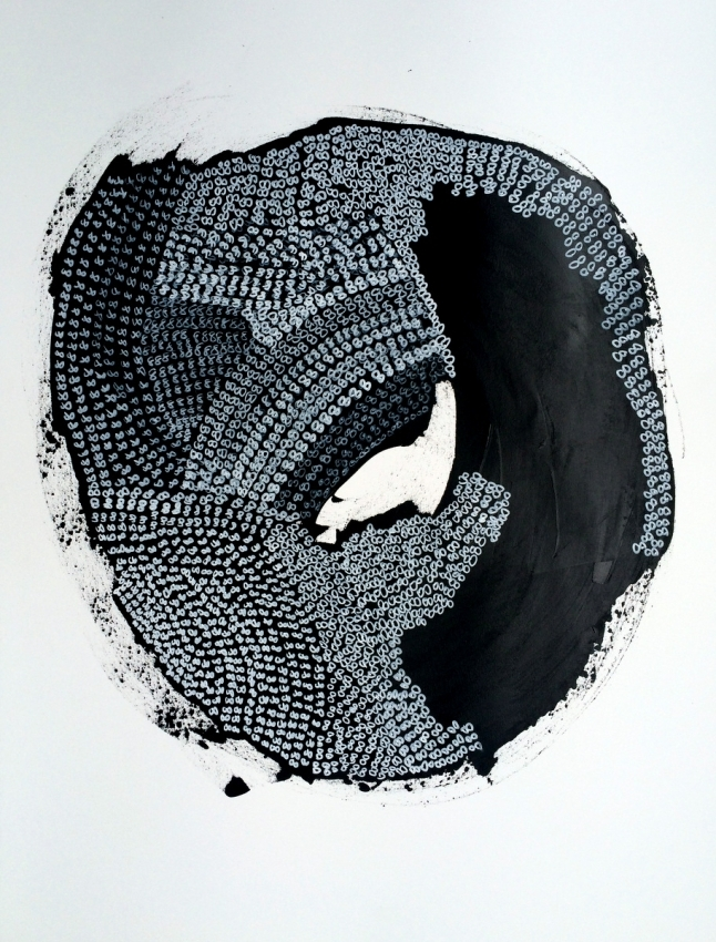 black and white abstract painting acrylic and gouache on wood panel,Bridget Griggs Art