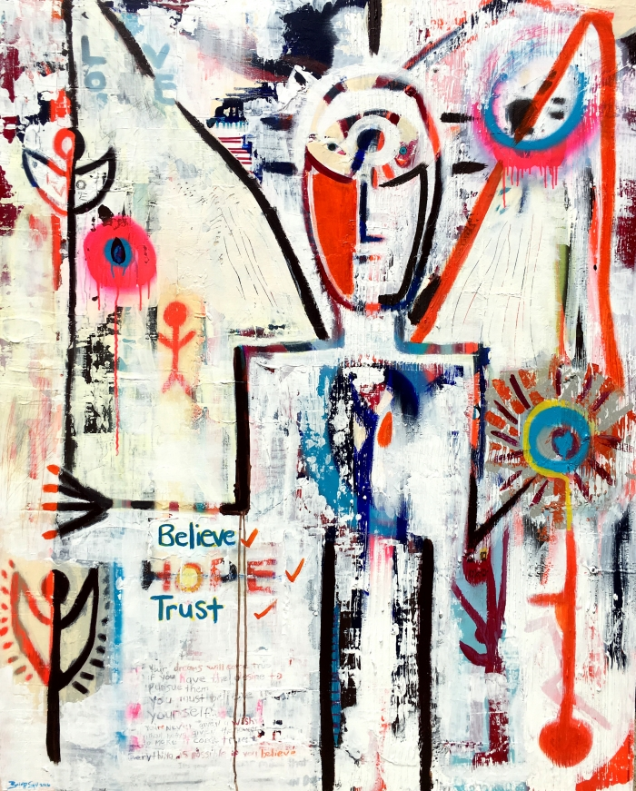 Tribute to David Bowie, Bridget Griggs Abstract Expressionist Artist