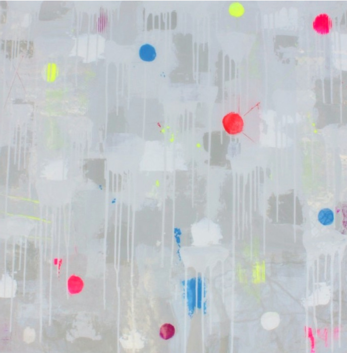 Bridget Griggs abstract art/ vibrant painting/ resin/ texture