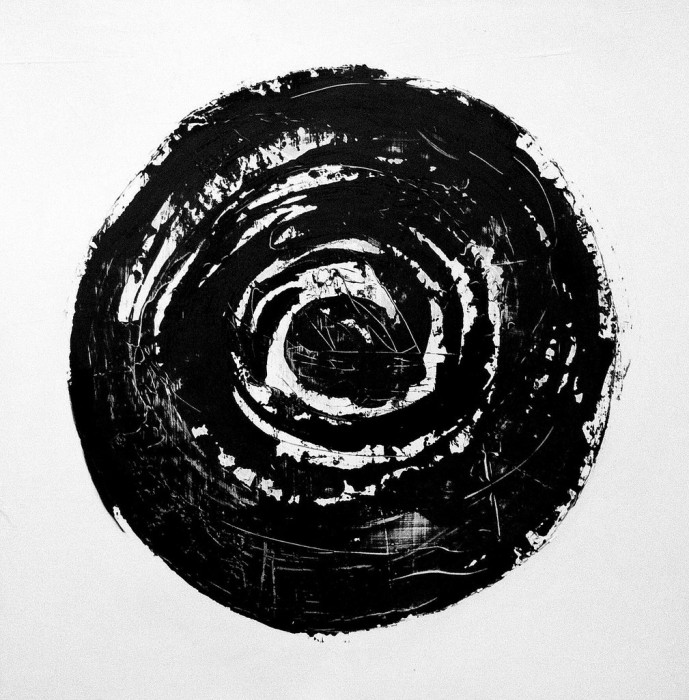 "Black Circle/ acrylic on wood/ 36""x36"" Sold"